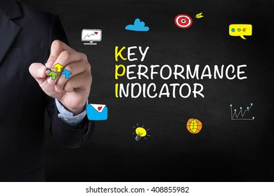 KEY PERFORMANCE INDICATOR Businessman drawing Landing Page on blurred abstract background