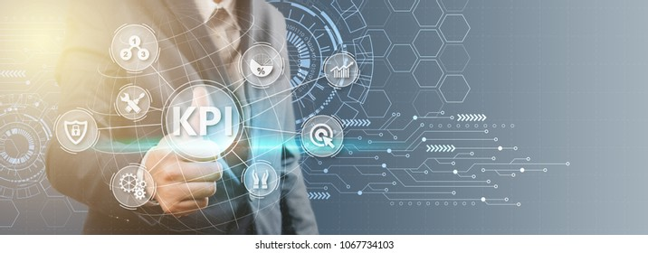 Key Performance Indicator (KPI) using Business Background with infographic versus planned target, person touching screen icon, success concept.
