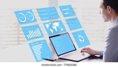 Key Performance Indicators (KPI) on business dashboard, businessman analyzing metrics of financial operations on virtual screen of computer