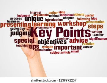 Key Points word cloud and hand with marker concept on white background.