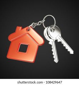 key with  red key chain in form of house