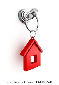 key with red house trinket in keyhole. real estate concept 3d render illustration