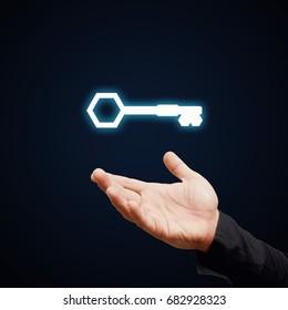 Key sign for turn key access lock idea concept