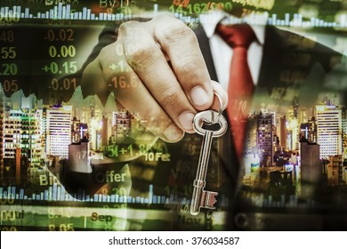 key to success concept with Multi exposure business data and building