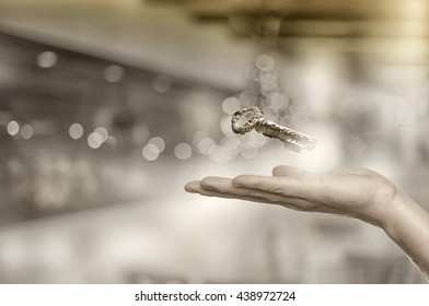 Key to success. Key solution concept with  bokeh background.