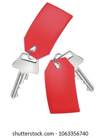 Key With Tag isolated on white. Realistic 3d illustration