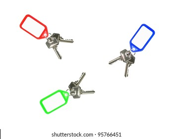 Key tags isolated against a white background