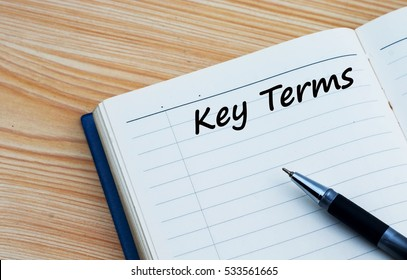 Key terms text written on a diary