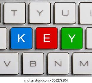 Key text on the colorful buttons of the keyboard.
