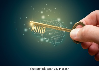 Key to unlock mind to use personal potential to increase intellect. Creative open mind concept. Mentor, coach, psychologist and another leading person has a key to open hidden potential of mind.