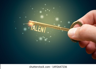 Key to unlock and open your talent and potential. Mentor, coach and another leading person has a key to open hidden talent. Talented human resources are very important for company success.