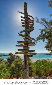 Key West beach distance signs to worldwide landmarks Florida USA Fort Zachary Taylor
