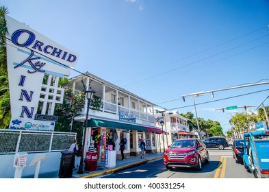 KEY WEST, FL - CIRCA 2016: streets and lifestyle at Key West circa 2016, The tropical city is a popular tourist destination with over 2 million yearly visitors.