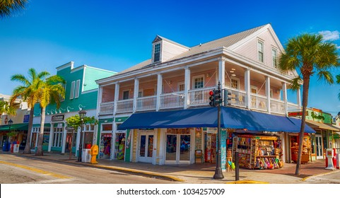 KEY WEST, FL - FEBRUARY 21, 2016: City streets on a beautiful sunny afternoon. Key West in the southernmost city in USA.