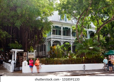 Key West, FL, United States - October 6, 2016: Ornate archutecture in the famous Duval street in downton Key West.