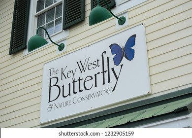 KEY WEST, FL, USA - APRIL 23, 2018: The Key West Butterfly and Nature Conservatory on Key West island on the south of Florida