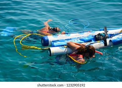 KEY WEST, FL, USA - APRIL 23, 2018: Tourists are doing Snuba diving on Key West island on the south of Florida