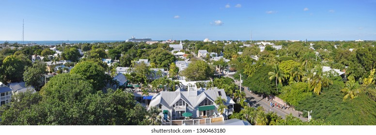 KEY WEST, FL, USA - DEC 20, 2012: Aerial view of Key West Old Town and Whitehead Street from Key West Lighthouse in Key West, Florida, USA.