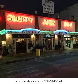 Key West Fl, USA March 20, 2018 The neon sign for Sloppy Joe's Bar shines in the night of Key West, Florida