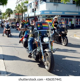 KEY WEST, FL-JUNE 12: Motorcycle riders take part in the Key West Gay Pride parade  honoring those killed in the terror attack at the nightclub in Orlando, Fl. on Sunday, June 12, 2016.