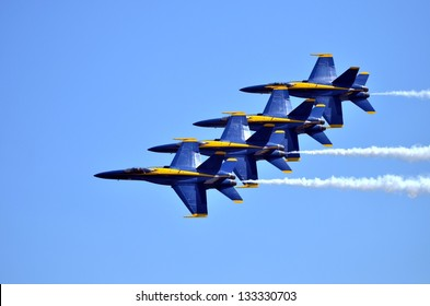 KEY WEST, FL-MARCH 23:  The U.S. Navy Blue Angels flight team perform precision aerial maneuvers on March 23, 2013, at the Naval Air Station Key West 2013 Airshow.