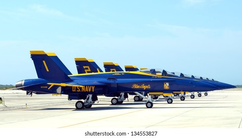 KEY WEST, FL-MARCH 23: The U.S. Navy Blue Angels flight team F-18 Hornet jets on the tarmac on March 23, 2013, at the Naval Air Station Key West 2013 Airshow.