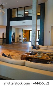 KEY WEST, FLORIDA - 18 JULY 2017. LOBBY OF THE NEW PERRY HOTEL STOCK ISLAND