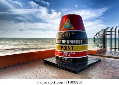KEY WEST, FLORIDA - 19 JAN 2017:The Key West Buoy sign marking the southernmost point on the continental USA and distance to Cuba, Florida