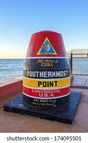 The Key West, Florida Buoy sign marking the southernmost point