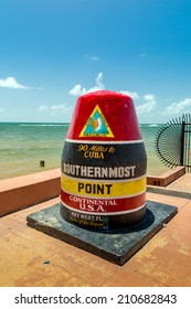 The Key West, Florida Buoy sign marking the southernmost point on the continental USA and distance to Cuba.