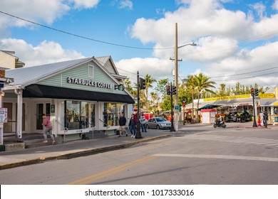 Key West, Florida: December 10, 2017:  A Starbucks store in the tourist section of Key West, Florida.  Starbucks is the world's largest coffee chain.