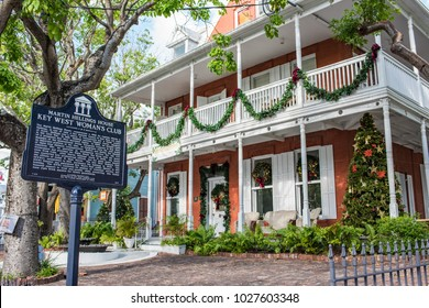 Key West, Florida: December 10, 2017:  Martin Hellings House Women's Club in Key West.  The Key West Woman's Club bought the residence in 1940 to serve as a library.