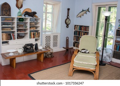 Key West, Florida: December 11, 2017: Interior of American novelist Ernest Hemingway's home.  Ernest Hemingway's home is known to have about 50 polydactyl (six-toed) cats.
