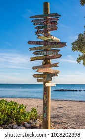 Key West, Florida: December 11, 2017:   Distance marker to various locations at Fort Zachary Taylor Historic State Park in Key West, Florida.