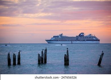 KEY WEST, FLORIDA - DECEMBER 26: Cruise ship Celebrity Constellation at sunset on December 26, 2014 off coast of Key West, Florida.