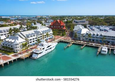 Key West Florida - February 12th 2017: Blue green Key West harbor in tourist area, Key West Florida - February 12th 2017