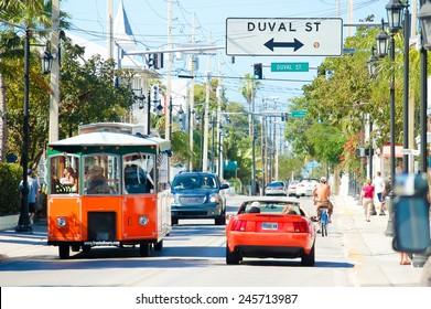 Key West, Florida - February, 28 2009:  The bustling Truman (U.S. 1) street in Key West, Florida