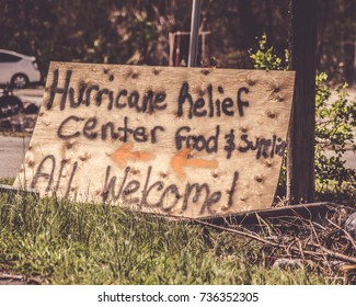 Key West Florida hurricane Irma hurricane relief plywood sign