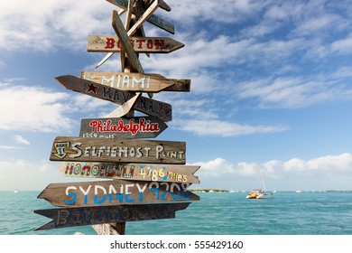 Key West, Florida - January 3, 2017: A Sign Post At Key West Florida, USA. Key West is a U.S. island city and part of the Florida Keys archipelago. It's also Florida's southernmost point.