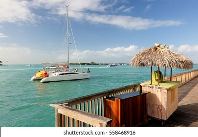 Key West, Florida - January 3, 2017: Sunset Pier at Mallory Square at Key West Florida. Key West is a U.S. island city and part of the Florida Keys archipelago. It's also Florida's southernmost point.