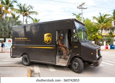 Key West, Florida - January 7, 2016: UPS driver delivering packages. UPS is one of largest package delivery companies worldwide.
