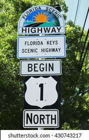 KEY WEST, FLORIDA - JUNE 1, 2016: Mile Zero Sign in Key West, Florida, USA. Mile Zero Sign is the starting point of U.S. Route 1 in Key West.