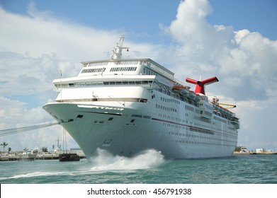 KEY WEST, FLORIDA - JUNE 1, 2016: Carnival Fantasy Cruise Ship anchors at the Port of Key West. Carnival Fantasy is the lead ship of the Fantasy-class of cruise ships operated by Carnival Cruise Line
