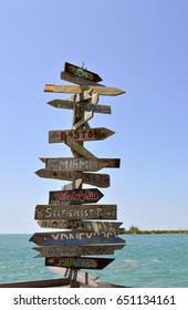 Key West, Florida Keys, Florida - May 15, 2017: Direction, distance, position and indication sign