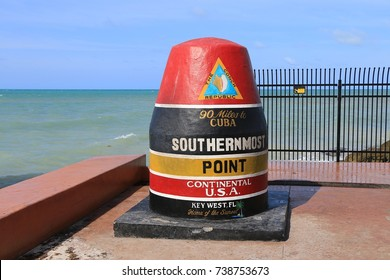 Key West, Florida, United States, May 2017. Southernmost point of U.S.A. Continental. 90 miles to Cuba.