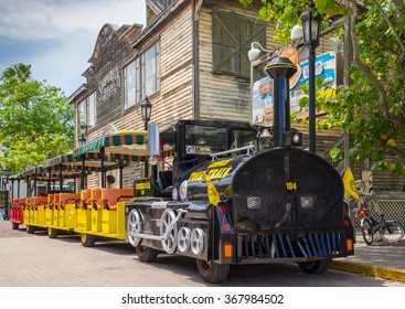 KEY WEST, FLORIDA USA - 2 MAY 2015 - The Conch Tour Train. The Conch Tour Train is a Popular Tourist Attraction Taking Visitors on Tours around Downtown Key West
