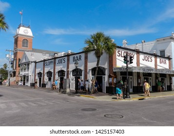 KEY WEST, FLORIDA, USA - APRIL 10, 2013: Sloppy Joe's Bar is a historic American bar, which was very frequented and sponsored by Ernest Hemingway. It is a famous tourist attraction.
