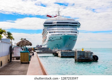 Key West, Florida, USA; Dec 18th 2018: The Carnival Victory cruise shipped docked in Key West, Florida