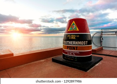 Key West, Florida, USA; Dec 18 2018: Southernmost Point marker in Key West, Florida, USA