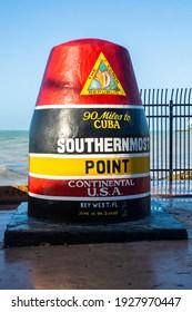 Key West, Florida, USA  February 28th 2021  Southernmost Point Landmark in Key West, Florida.